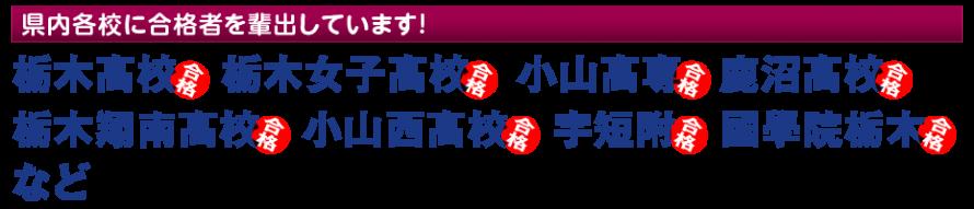栃木市の進学塾QUESTは県内各校に合格者